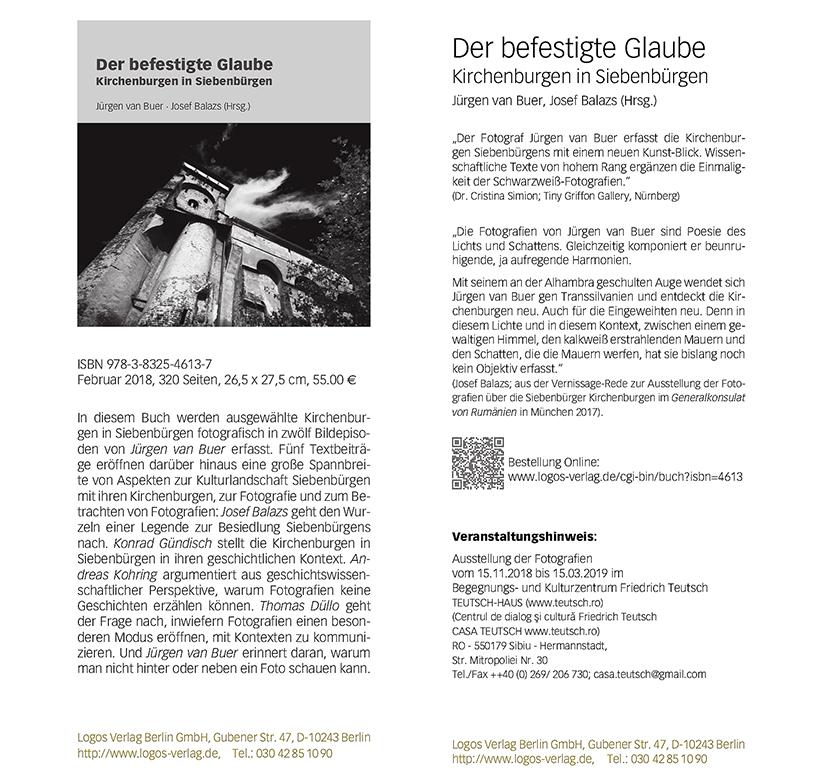 """Flyer des Logos-Verlag für das Buch """"Der befestigte Glaube"""" von Jürgen van Buer/Josef Balazs"""